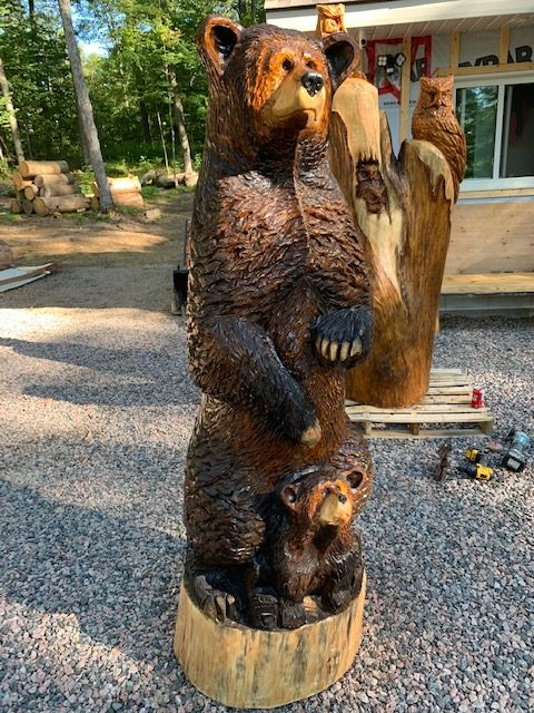 "Featured image for ""6′ Bear Carving with Cub"""