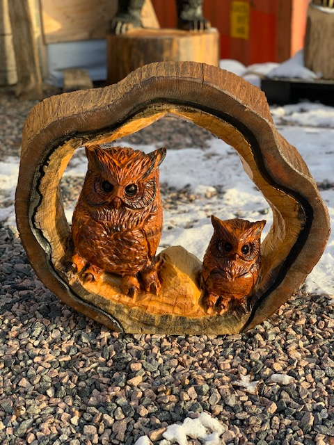 """Featured image for """"24″ Hollow Log Owl Pair Carving"""""""